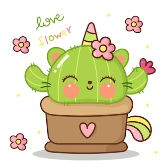 Unicorn cat catus with flower kawaii animal