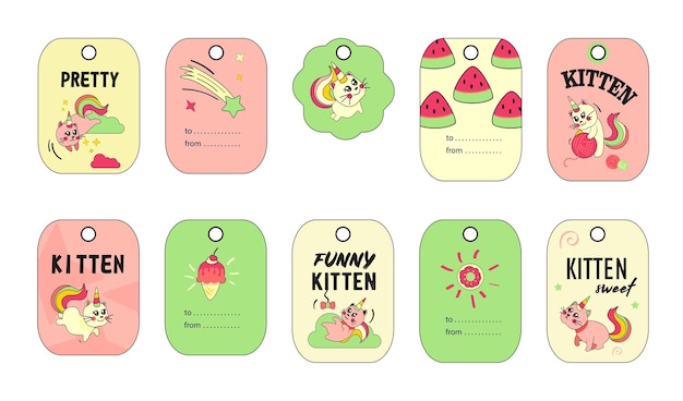 Unicorn cat tags set. funny cartoon summer baby kitten with rainbow horn and tail  illustrations.