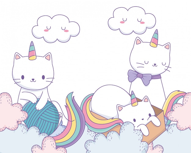 Unicorn cats cartoons