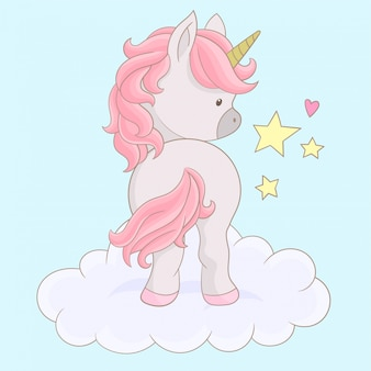 Unicorn character on the cloud