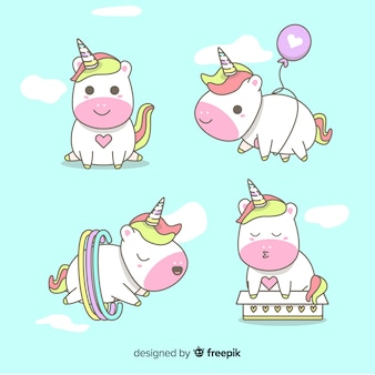 Unicorn character collection on kawaii style