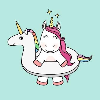Unicorn character in unicorn swimming ring