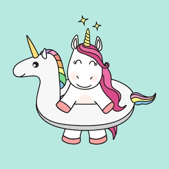 Unicorn character in unicorn swimming ring