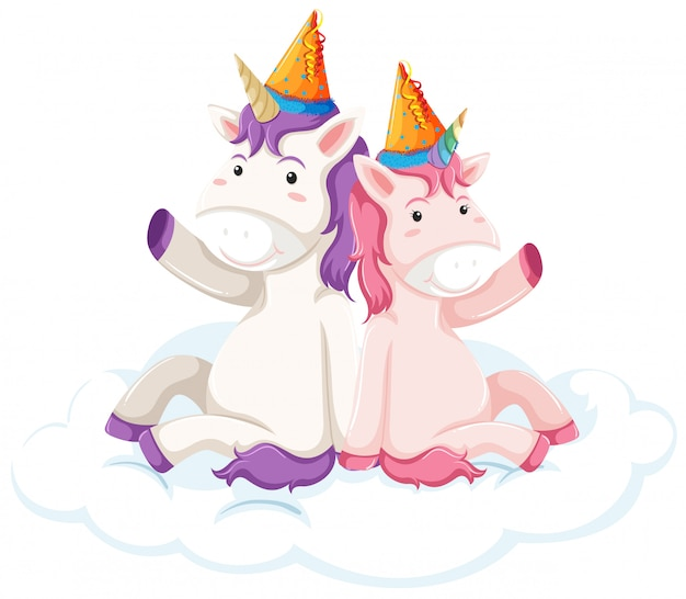 Unicorn character on white background