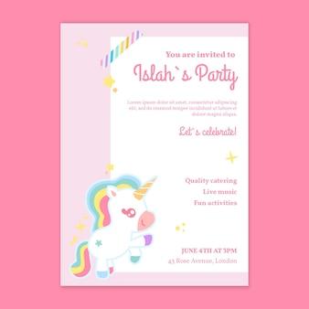 Modello di poster verticale di compleanno per bambini unicorno
