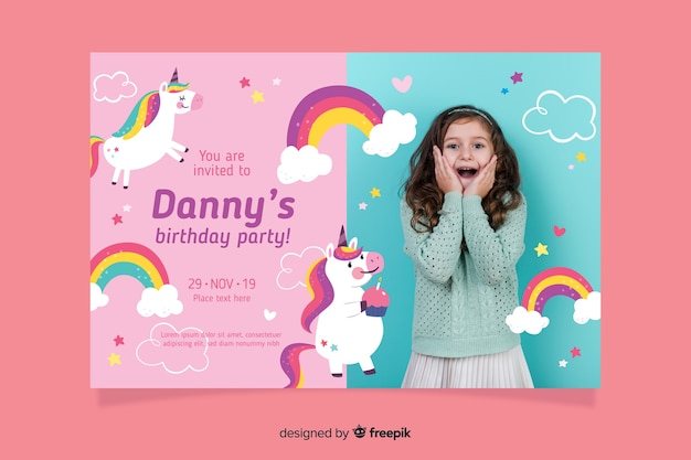 Unicorn childrens birthday invitation template with photo