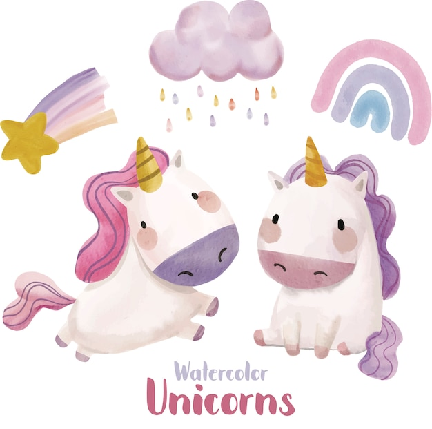 Unicorn clipart illustration set