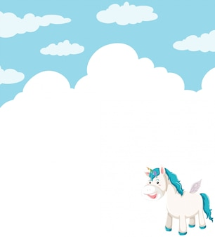 Unicorn in cloud sky background with copyspace