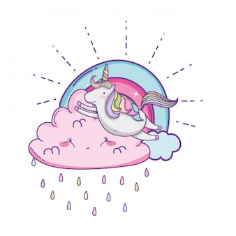 Unicorn on clouds cute cartoons