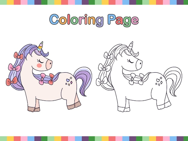 Unicorn coloring book page outline cartoon