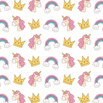 Unicorn crown and rainbow pattern