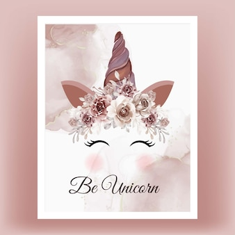 Unicorn crown watercolor flower brown terracotta