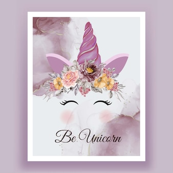 Unicorn crown watercolor flower pink purple