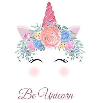 Unicorn crown watercolor flower rose pink orange hand drawn illustration