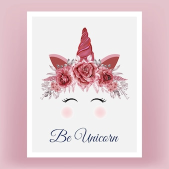 Unicorn crown watercolor flower rose red burgundy hand drawn illustration