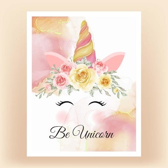 Unicorn crown watercolor flower yellow peach