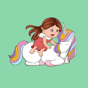 Unicorn and a cute cartoon girl