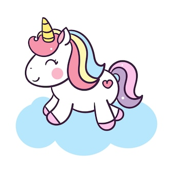 Unicorn cute cartoon illustration: series illustration of very cute fairytale pony