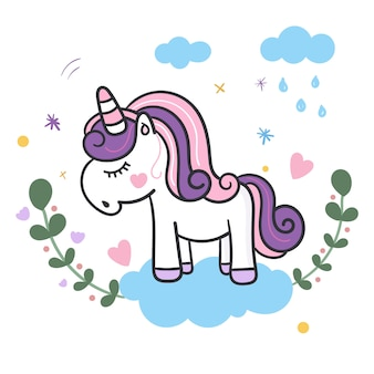 Unicorn cute cartoon illustration