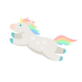Unicorn cute horse with horn jumping across the sky stock vector illustration isolated on white