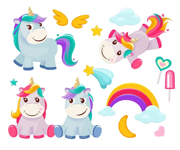 Unicorn. cute magic animals happy birthday symbols little pony baby horse colored cartoon pictures. illustration of unicorn baby, animal horse, pony dream