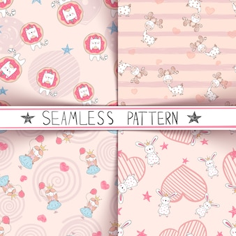 Unicorn, deer, girl rabbit seamless pattern