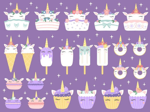 Unicorn desserts. unicorns macaron, delicious bakery cake funny chocolate cupcake and donut. rainbow ice cream and cupcakes vector set