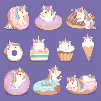 Unicorn donuts. cute face and characters of magic rose little pony unicorn with cakes donuts ice cream vector dessert pictures. unicorn with sweet cream, little cake and imaginative pony illustration
