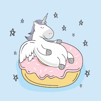 Unicorn doodle donut cartoon