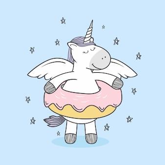 Unicorn doodle donuts cartoon