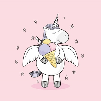 Unicorn doodle ice cream gelato cartoon