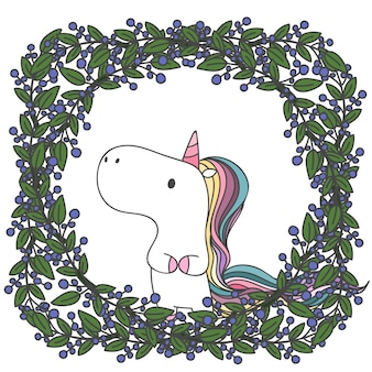 Unicorn doodle in leaves and flowers frame.