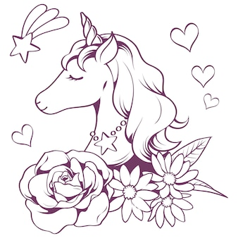 Unicorn doodle in line style