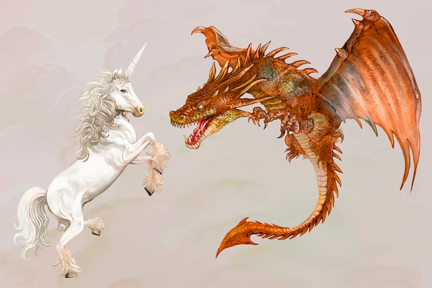 Unicorn and a dragon