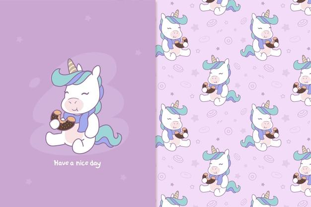 Unicorn eats a dessert pattern