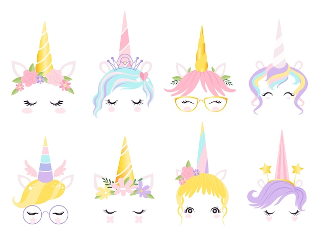 Unicorn face. fantasy horse pony animal creation kit ears head horn eyes and hairs glasses vector cute. illustration horse and pony, face unicorn magic