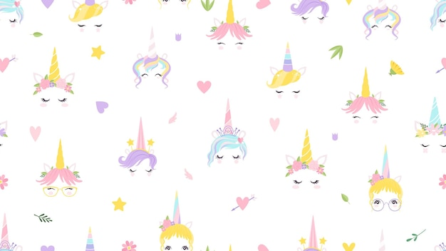 Unicorn faces pattern. cute magic background. fairy tale print for baby girl vector illustration. fairytale princess horse, beautiful colorful pattern to birthday
