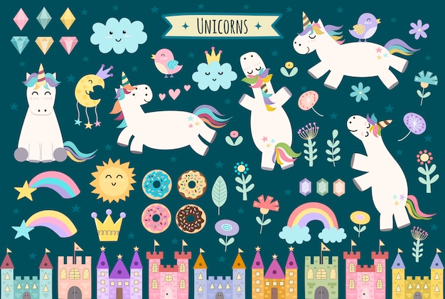 Unicorn and fairytale isolated elements for your design. castles, rainbow, crystals, clouds and flowers. cute clipart collection.