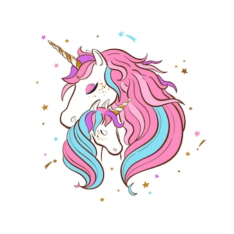 Unicorn family hand drawn illustration . mother and child unicorns