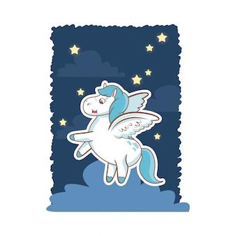 Единорог фантазии игрушка тайна крылья ночь фон плакат