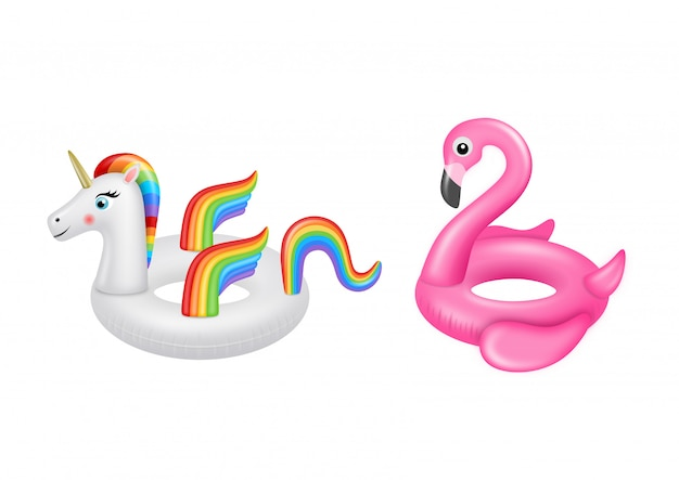Unicorn and flamingo swimming rings. summer inflatable rubber toys.