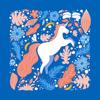 Unicorn flat hand drawn illustration.