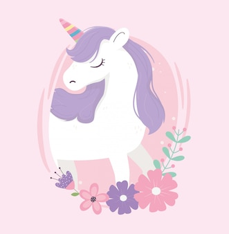 Unicorn flowers fantasy magic dream cute label pink background illustration