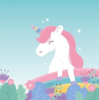 Unicorn flowers rainbow decoration fantasy magic dream cute cartoon