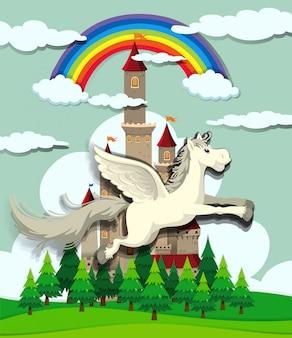 Unicorn flying over the castle