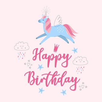 Unicorn flying illustration card with happy birthday greetings