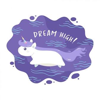 Unicorn flying minimalist illustration