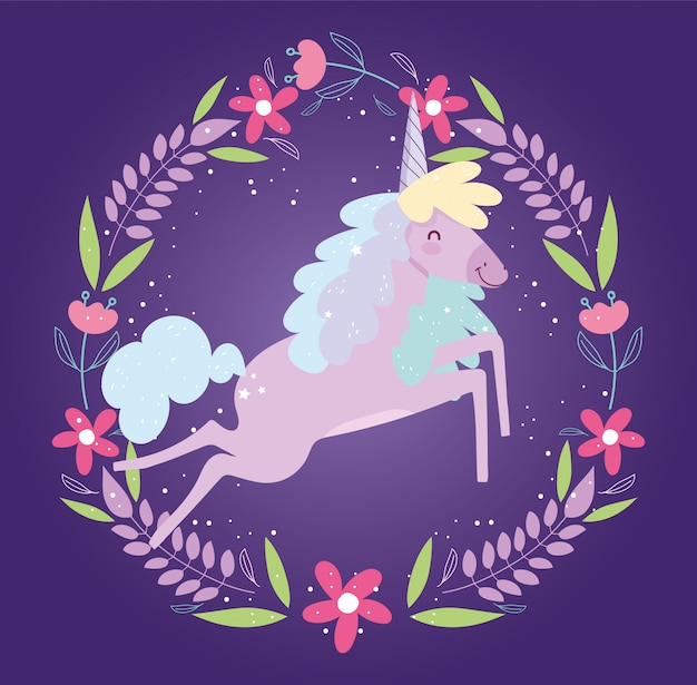 Unicorn frame flowers fantasy magic cute cartoon
