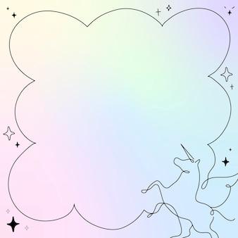 Cornice di unicorno, vettore di progettazione di sfondo olografico