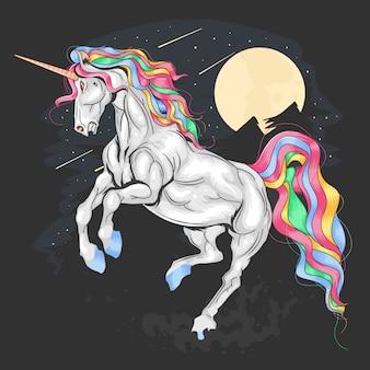 Unicorn full color night rainbow vector